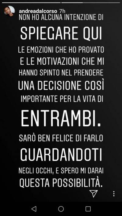 """Uomini e Donne, Andrea Dal Corso disperato su Instagram: """"Dammi una possibilità"""""""