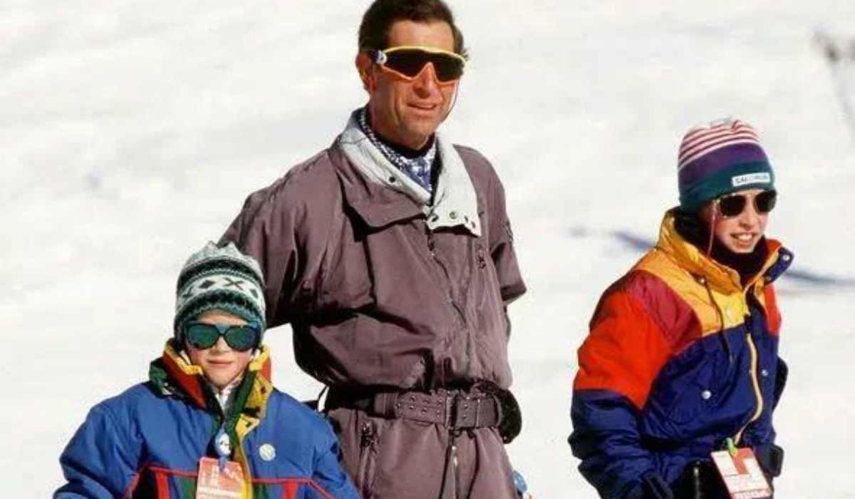 Il Principe Carlo con i figli Harry e William