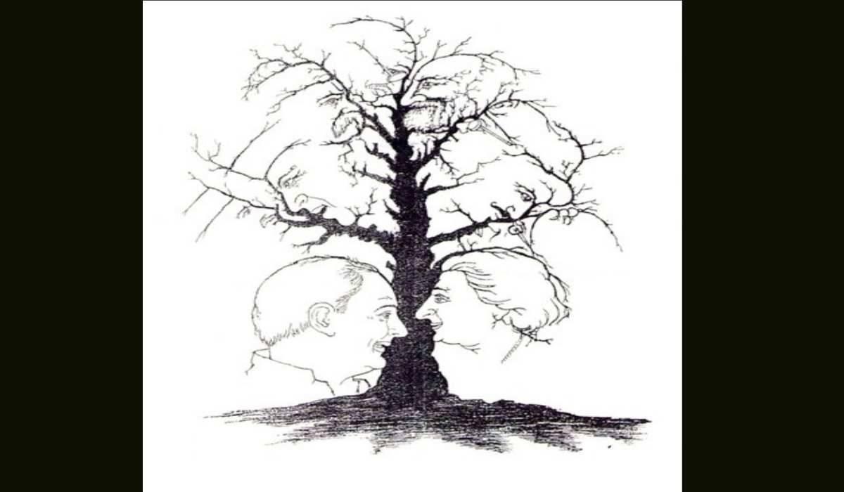 Rompicapo visivo facce-albero