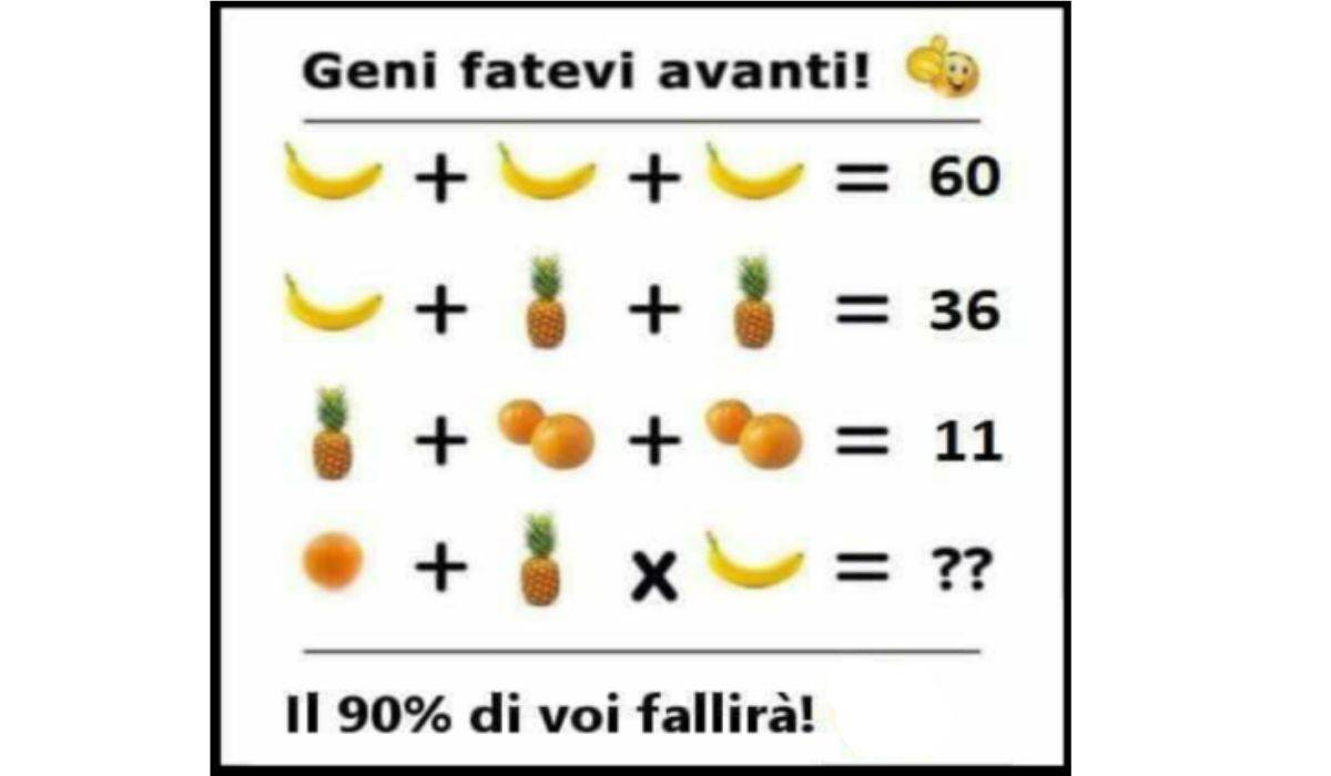 Rompicapo matematico frutta
