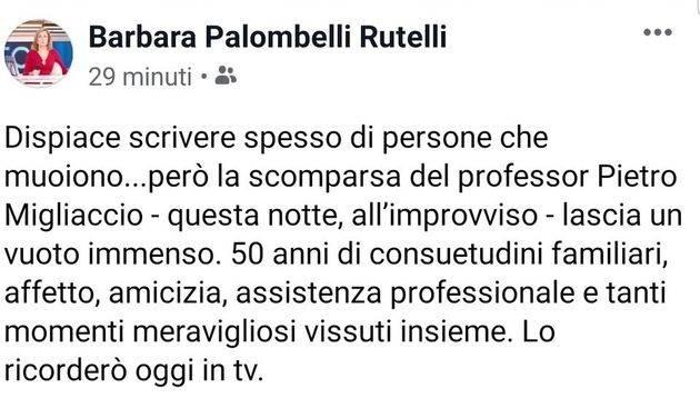 Barbara Palombelli, il messaggio di addio al Dottor Pietro Migliaccio morto