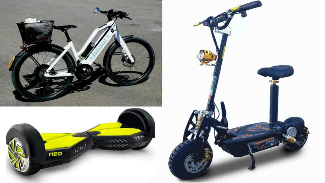 bici elettriche, hoverboard, monopattini