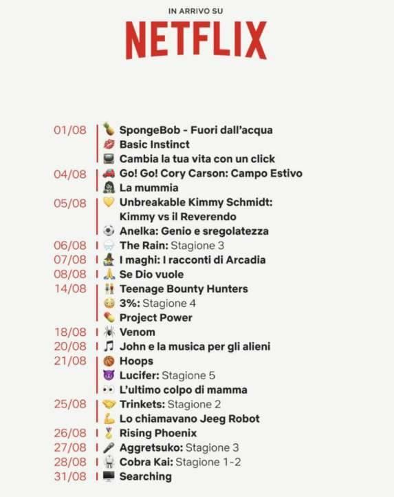 Netflix novità agosto catalogo