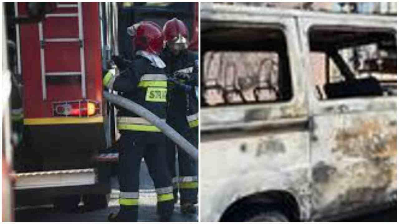 in fiamme furgone migranti