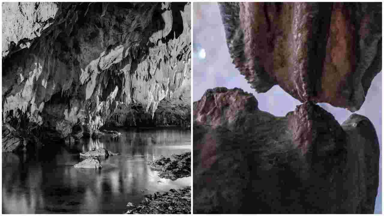 grotte di Pertosa bacio stalattite stalagmite