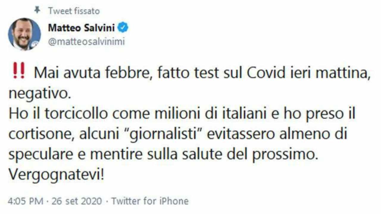 Post di Salvini su tampone negativo