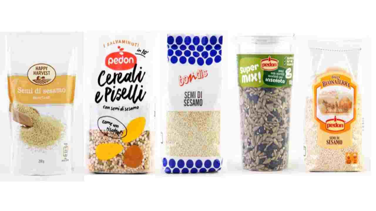 semi di sesamo e cereali ritirati per ossido di etilene