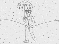 Test psicologico uomo sotto la pioggia