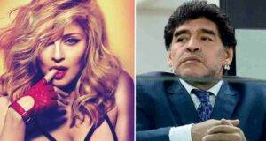 La popstar Madonna e il calciatore Maradona