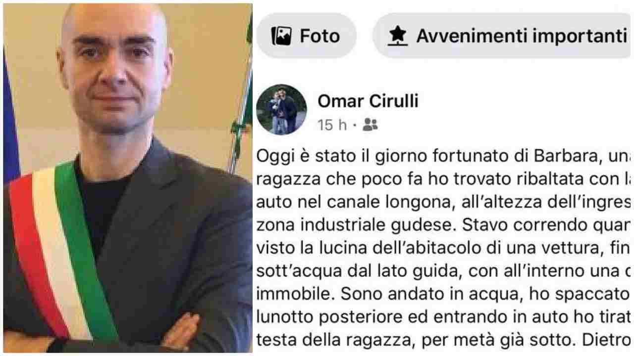 Sindaco Omar Cirulli salva donna finita nel canale