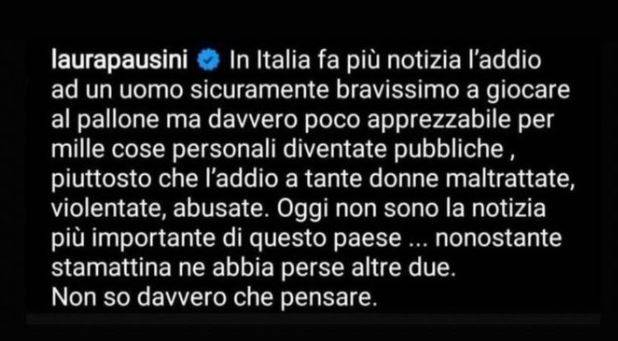 Laura Pausini, commento su instagram