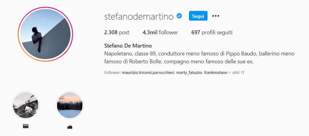 stefano de martino didascalia bio divertente instagram