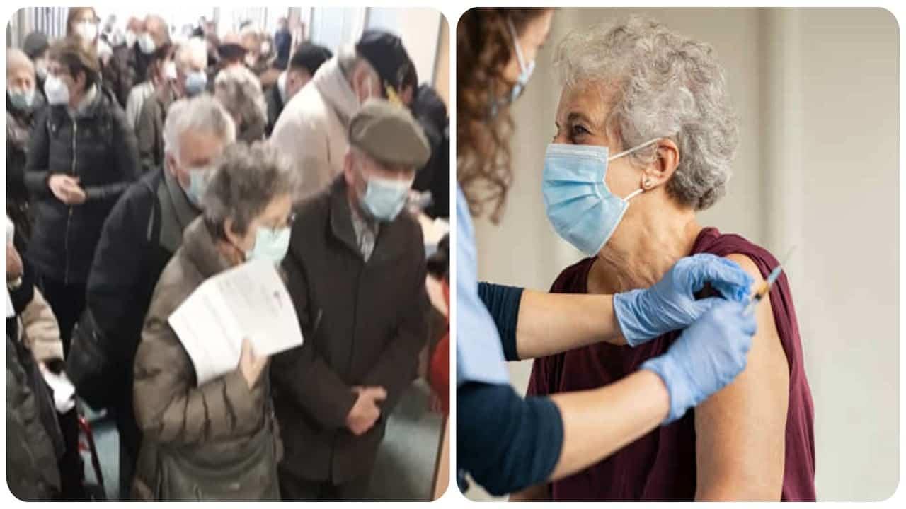 Anziani in coda per il vaccino Covid.