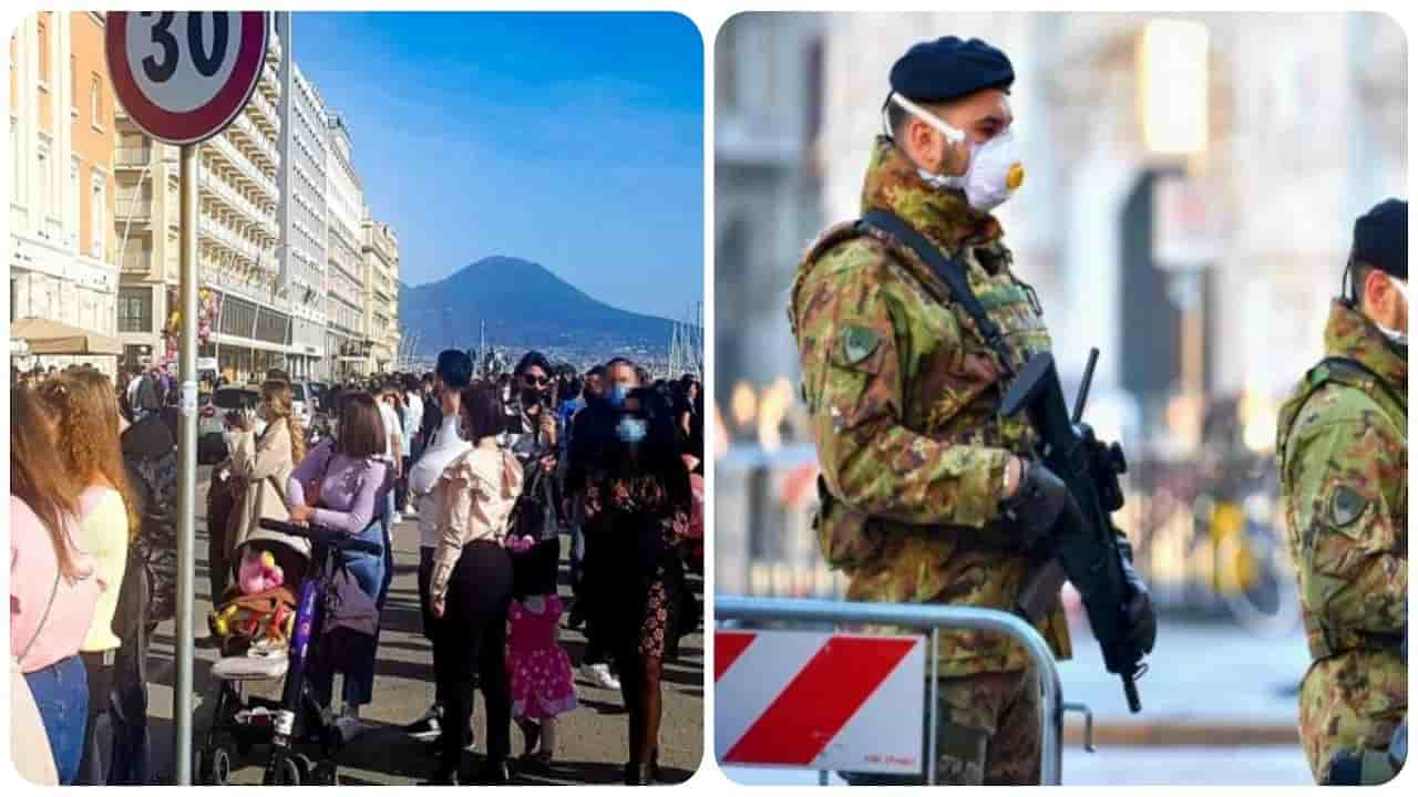 Napoli poliziotti e l'Esercito contro gli assembramenti del fine settimana.