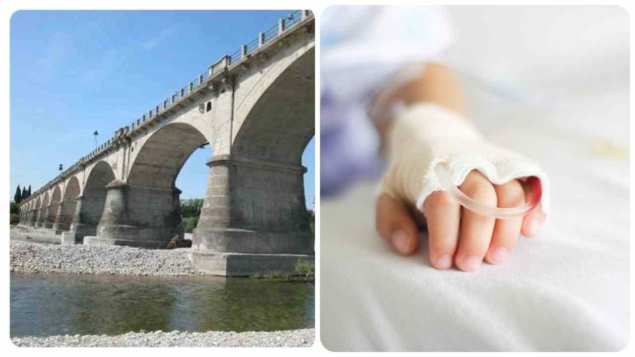 bambino precipitato ponte fuori pericolo