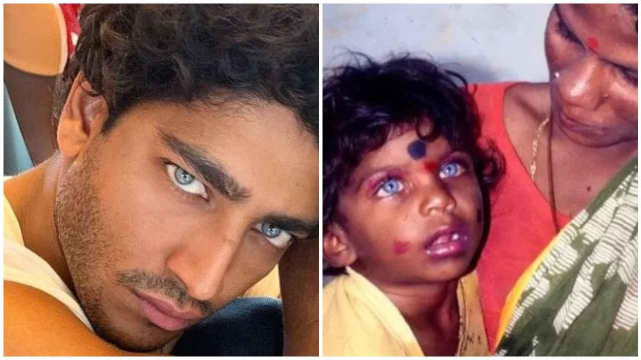 Akash Kumar da bambino piccolo occhi azzurri