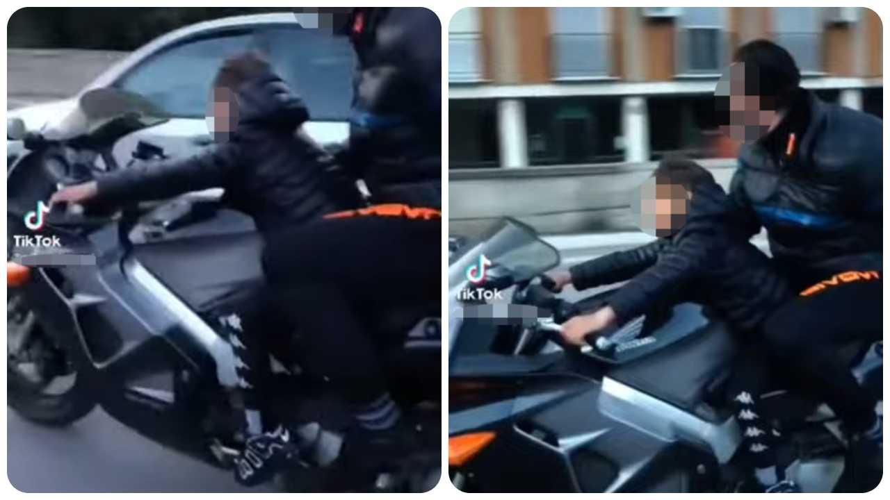 fa guidare moto a un bambino di 8 anni