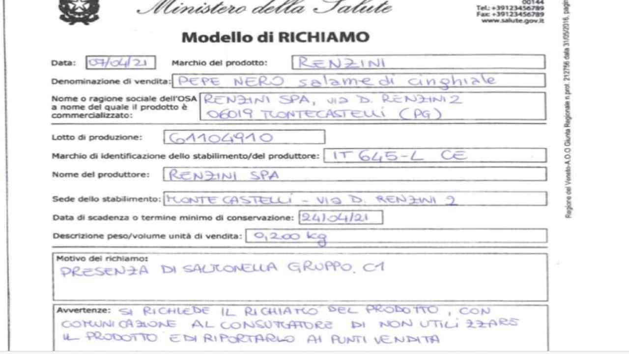 Salame ritirato nota del Ministero