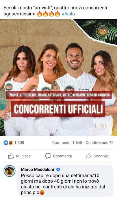 Isola, Marco Maddaloni scatena la polemica contro la produzione: 'Non è giusto'