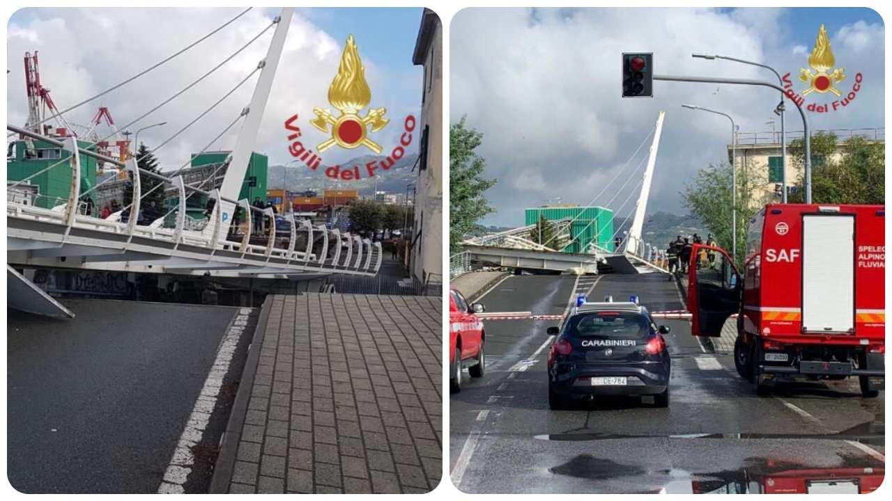 crollo ponte Darsena La Spezia