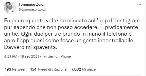Tommaso Zorzi post Twitter